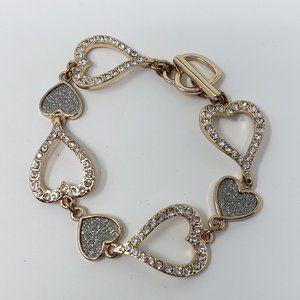 Jewelry - Gold Tone Rhinestone Heart Link Bracelet Toggle